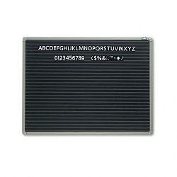 "Magnetic Wall Mount Letter Board 24"" x 18"" Black Gray Aluminum Frame (QRT901M)"