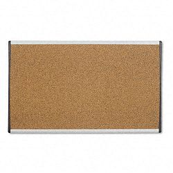 "Cubicle Arc Frame Colored Cork Board 14 x 24"" Tan Aluminum Frame (QRTARCB2414)"