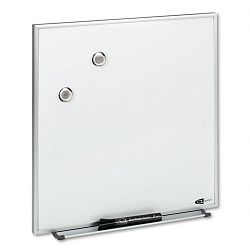 "Magnetic Dry Erase Board Painted Steel 16"" x 16"" White Aluminum Frame (QRTM1616)"