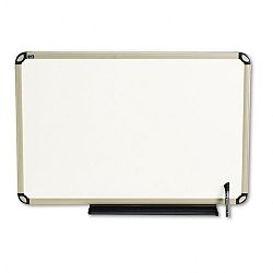 "Total Dry Erase Board 36"" x 24"" White Euro-Style Aluminum Frame (QRTTE563T)"