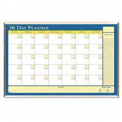 "30-Day Wall Planner Laminated 32"" x 21 12"" BlueWhiteYellowSilver (HOD6651)"