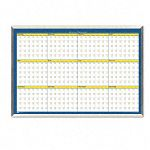 "12-Month Planner Laminated 32"" x 21 12"" BlueWhiteYellowSilver (HOD6652)"