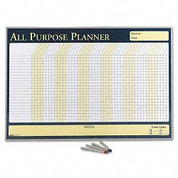 "Wall Planner Laminated 32"" x 21 12"" BlueWhiteYellow Aluminum Frame (HOD6659)"