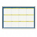 "12-Month Planner Laminated 40"" x 26"" BlueWhiteYellowSilver (HOD6662)"