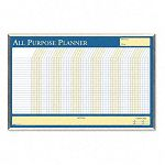 "Wall Planner Laminated 40"" x 26"" BlueWhiteYellow Aluminum Frame (HOD6669)"