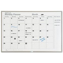 "Monthly Planning Board Porcelain-on-Steel 48"" x 36"" Gray (MAVML341)"