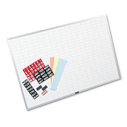 "Magnetic WorkPlan Kit 1"" x 2"" Grid Porcelain-on-Steel 36"" x 24"" BlueWhite (MAVOB2436B)"