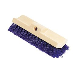 Bi-Level Deck Scrub Brush Polypropylene Fibers 10 Plastic Block Tapered Hole (RCP6337BLU)
