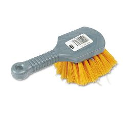 "Pot Scrubber Brush 8"" Plastic Handle Gray Handle with Yellow Bristles (RCP9B29)"