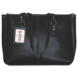 "Madison Tote Genuine Leather 15 78""w x 5""d x 12 38""h Black (BUXOC402T46BK)"