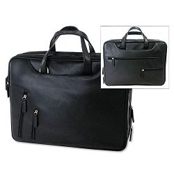 "Tech-Rite ComputerBusiness Case Leather-Look 16"" x 4"" x 12-14"" Black (BND455743BLK)"