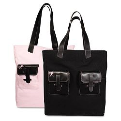 "Pink Ribbon Canvas Tote Reversible 13"" x 15"" x 6"" BlackPink (DTM48479)"