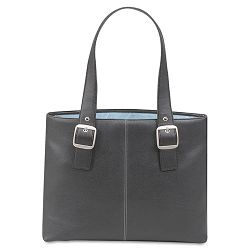 "Classic Collection 15.4"" Laptop Tote Pebble-Grain Vinyl BlackBlue (USLK70845)"