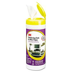 "Disinfecting Desk & Office Wet Wipes Cloth 7""x 8"" Canister of 25 (MMMCL564)"