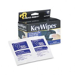 "KeyWipes Keyboard & Hand Cleaner Wet Wipes 5"" x 7"" Box of 18 (REARR1233)"