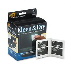"Kleen & Dry Screen Cleaner Wet Wipes Cloth 5"" x 5"" Box of 40 (REARR1305)"