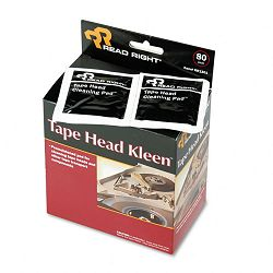 "Tape Head Kleen Pad Individually Sealed Pads 5"" x 5"" Box of 80 (REARR1301)"
