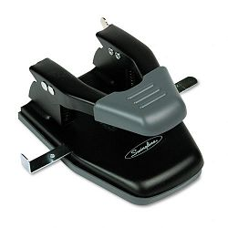 "28-Sheet Comfort Handle Steel Two-Hole Punch 14"" Hole Black (SWI74050)"