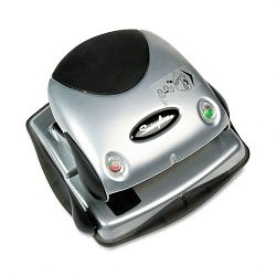 "20-Sheet Easy View Two-Hole Punch 932"" Diameter Hole Plastic BlackSilver (SWI74055)"
