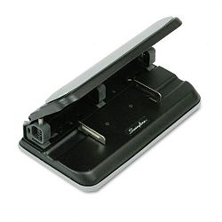 "32-Sheet Easy Touch Three- to Seven-Hole Punch 932"" Diameter Hole BlackGray (SWI74300)"
