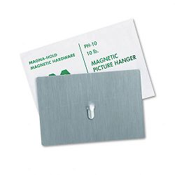 "Magnetic Picture Hanger 4"" x 6"" 10-lb Capacity Steel Hook Satin Steel Finish (MAVPH10)"