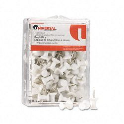 "Colored Push Pins Plastic White 38"" Pack of 100 (UNV31302)"