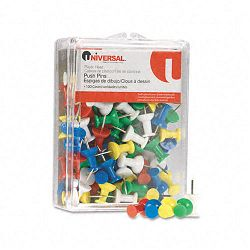 "Colored Push Pins Plastic Rainbow 38"" Pack of 100 (UNV31310)"