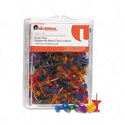 "Colored Push Pins Plastic Gemstone 38"" Pack of 100 (UNV31312)"