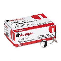 "Thumb Tacks Steel Silver 516"" Pack of 100 (UNV51002)"