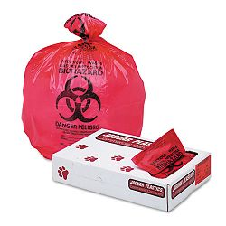 "Health Care ""Bio-hazard"" Printed Liners 1.3mil 33"" x 39"" Red Carton of 150 (JAGIW3339R)"