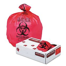 "Health Care ""Bio-hazard"" Printed Liners 1.35mil 36"" x 58"" Red Carton of 100 (JAGIW3658R)"