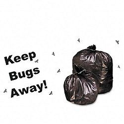 "Insect-Repellent Trash Bag with Pest-Guard 45 Gallon 2mil 40"" x 45 Black Carton of 65 (STOP4045K20)"