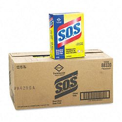 S.O.S Steel Wool Soap Pad 15 PadsBox 12 BoxesCarton (COX88320CT)