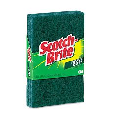 "Heavy-Duty Scour Pad 3.8"" W x 6"" L Green Pack of 3 (MMM223)"