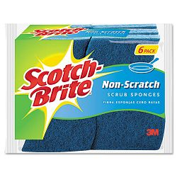 "Non-Scratch Multi-Purpose Scrub Sponge 4 25"" x 2 35"" Blue Pack of 6 (MMM526)"