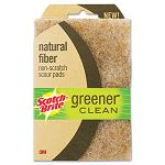 "Greener Clean Natural Fiber Non-Scratch Scour Pad 4"" x 6"" Natural Pack of 2 (MMM97223)"
