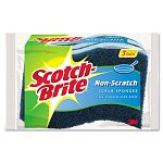 "Non-Scratch Multi-Purpose Scrub Sponge 4 25"" x 2 35"" Blue Pack of 3 (MMMMP3)"