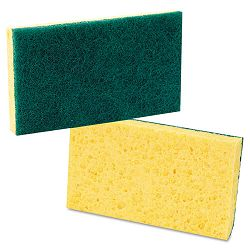"Medium Duty Scrubbing Sponge 3 58"" x 6 14"" YellowGreen Carton of 20 (PMP174)"