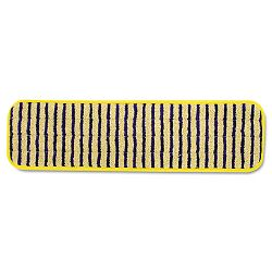 "Microfiber Scrubber Pad Vertical Polyprolene Stripes 18"" Carton of 6 Yellow (RCPQ810YEL)"