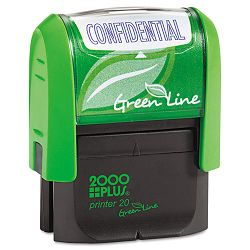 "2000 PLUS Green Line Message Stamp Confidential 1 12"" x 916"" Blue (COS035346)"