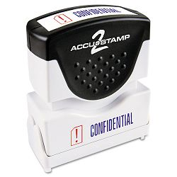 "Accustamp2 Shutter Stamp with Microban RedBlue CONFIDENTIAL 1 58"" x 12"" (COS035536)"