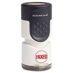 "Accustamp Pre-Inked Round Stamp with Microban FAXED 58"" dia Blue (COS035657)"