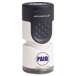 "Accustamp Pre-Inked Round Stamp with Microban PAID 58"" dia Blue (COS035659)"