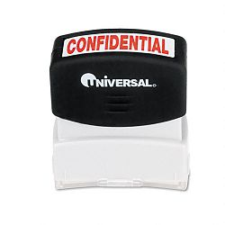 Message Stamp CONFIDENTIAL Pre-InkedRe-Inkable Red (UNV10046)