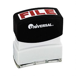 Message Stamp FILE Pre-InkedRe-Inkable Red (UNV10057)