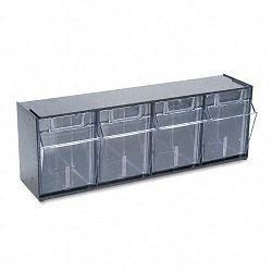"Tilt Bin Plastic Storage System with 4 Bins 23 58"" x 6 58"" x 8 18"" Black (DEF20404OP)"