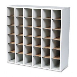 Wood Mail Sorter with Adjustable Dividers Stackable 36 Compartments Gray (SAF7766GR)