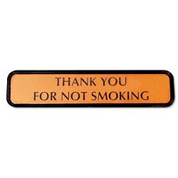 "Molded Wall Sign ""Thank You for Not Smoking"" 8"" x 14"" x 2"" BronzeBlack (COS098042)"