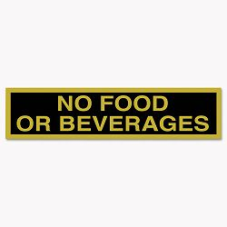 "Business Decal Sign No Food or Beverages 4"" x 8 12"" BlackGold (COS098079)"
