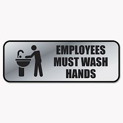 "Brushed Metal Office Sign Employees Must Wash Hands 9"" x 3"" Silver (COS098205)"